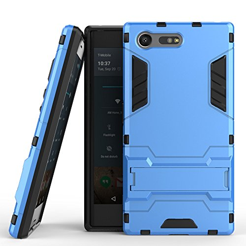 SONY Xperia X Kompakt Hülle Cover, 2 In 1 Neue Armor Tough Style Hybrid Dual Layer Rüstung Defender PC Hard Case Rückseite mit Ständer Shockproof Für SONY Xperia X Compact ( Color : Gold , Size : Xper Blue