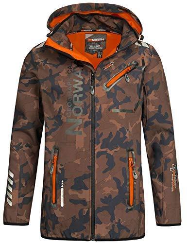 Geographical Norway Herren Softshell Outdoor Jacke Rainman/Royaute Camo Turbo-Dry Kapuze Khaki/orange XL