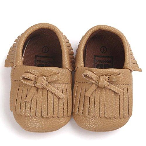 Clode® Kleinkind Baby Mädchen Quasten Bowknot Leder Schuhe Weiche Sohlen Krippe Schuhe Prinzessin Schuhe Khaki