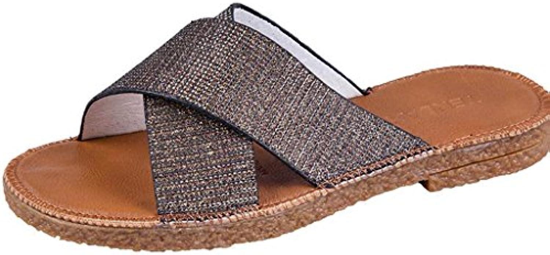 CXZS Pantoffel-Weiblicher Sommer-Abnutzungs-Kreuz-Flache Wort-Pantoffel-Rutschfeste Strand-Schuhe (Farbe : Silberö