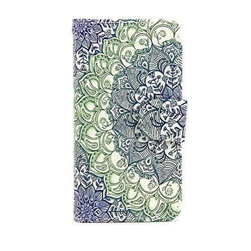 Etsue Case pour iPhone 7,Premium Folio Cuir Portefeuille Housse pour iPhone 7,Support Flip PU Leather wallet Case Cover pour iPhone 7,Slim-Fit Smart de Coque avec Card Holder Etui pour iPhone 7 + 1x B Fleur vert