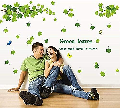 Green Maple Leaf (Green Maple Leaf Und Butterfly Home Art Deco Wandaufkleber Abnehmbar)