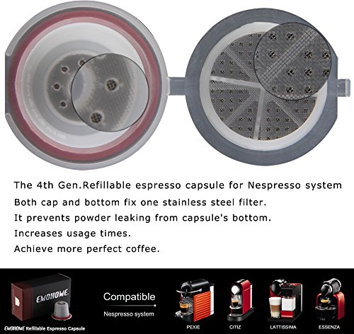 Refillable Nespresso Capsules with Spoon- Pack of 10- BPA Free Coffee Maker Pods- Dual Stainless Steel Filters- Eco…