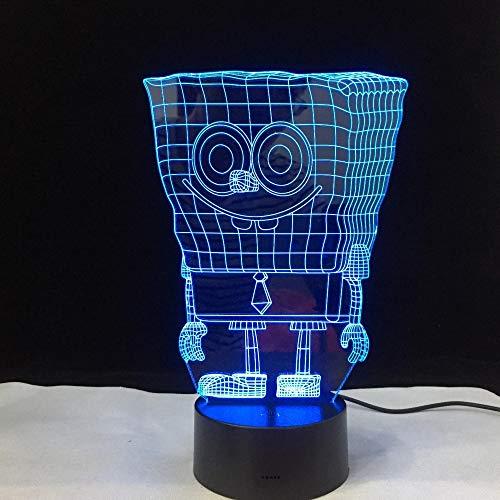 wangZJ 3d Illusion Lampe/Nachtlicht für Kinder / 7 Farben, die Schlafenbeleuchtung/Kinder Geschenk/usb/SpongeBob ändern