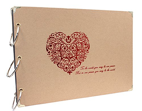 Farway DIY schönes Fotoalbum selbstklebend 10 x 7 Zoll Hochzeitstag Geschenke Sammelalbum Fotos Speicher Buch mit leeren Seiten für paar Familie Freunde Reisen Strand Weihnachtsgeschenke (Rot Herz)
