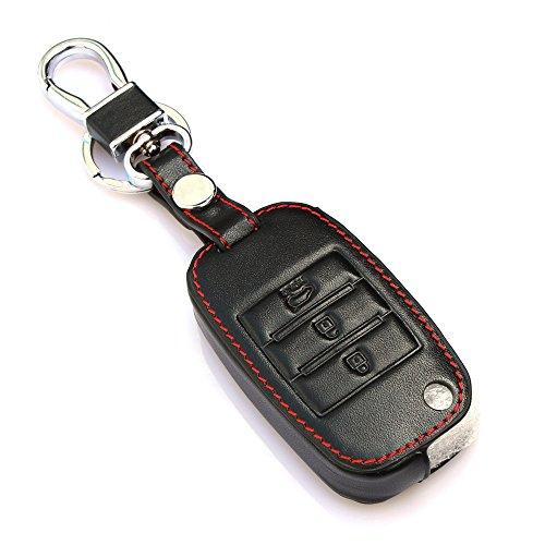 Autoschlüssel Fall Falten Schlüssel Auf | für Kia Rio K2 K3 K5 Optima 3 Buttons Black | schwarz -