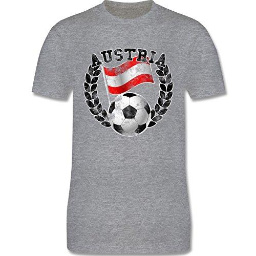 EM 2016 - Frankreich - Austria Flagge & Fußball Vintage - Herren Premium T-Shirt Grau Meliert