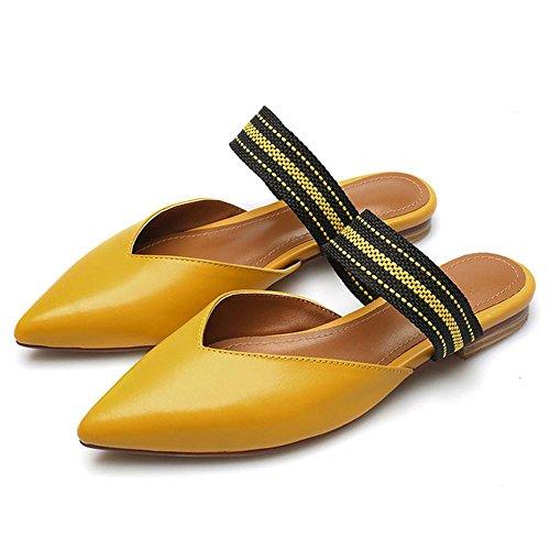 GJDE Sommer Sandalen und Pantoffeln beiläufige Schuhe Spitz Weibliche Dick mit Sandalen Yellow