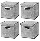 CM3 4 Stück Hellgrau Faltbox 25 x 25 x 25 cm Aufbewahrungsbox faltbar, mit Deckel