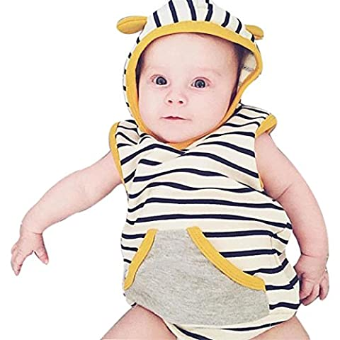 Boys Clothing Sets, SHOBDW 1Set Infant Baby Boy Striped Hooded T Shirt Tops+Shorts Pants Clothes Outfits (0-6 Months,