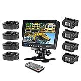 Pyle Wetterfeste Kamera-System (17,8 cm (7 Zoll) LCD-Farbmonitor, (4) IR-Nachtsicht-Kameras, Dual-DC-Spannung)