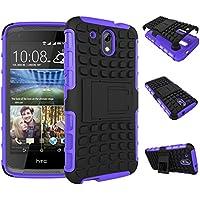 Qiaogle Teléfono Case - Shock Proof TPU + PC Hibrida Stents Carcasa Cover para HTC Desire 526G 526G+ Dual SIM (4.7 Pulgadas) - HH03 / Púrpura