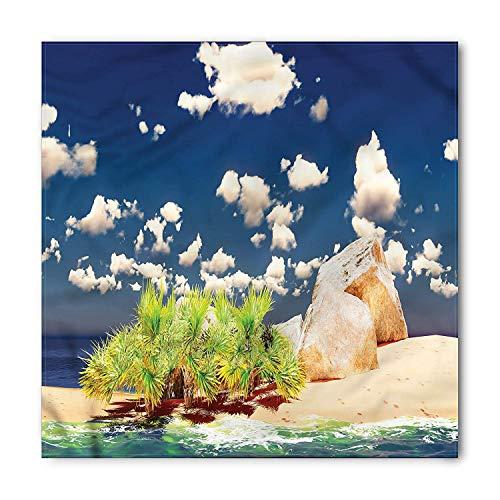Island Bandana, Dreamy Cloudy Sky in Exotic Seyschelles with Summer Sandy Beach Day Hot Photo, Printed Unisex Bandana Head and Neck Tie Scarf Headband, 22 X 22 Inches, Blue Cream White - Cowl Neck Cream
