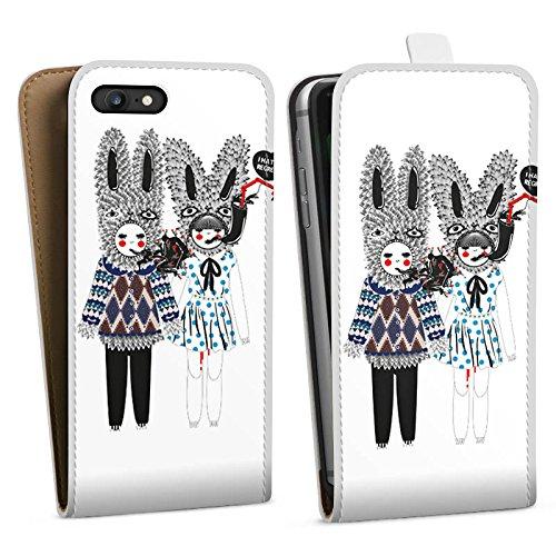 Apple iPhone X Silikon Hülle Case Schutzhülle Hasen Traum Fantasie Downflip Tasche weiß
