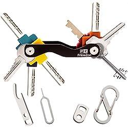 Clave inteligente Titular de la llave Organizador, se ajusta a la mayoría de las teclas (hasta 20), incluyen SIM y abridor de botellas, mosquetón y clave de bucle (Negro) – PrimeZon
