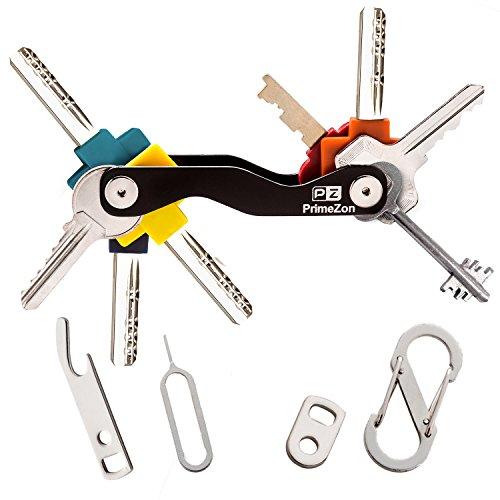 Portachiavi uomo, chiave intelligente, organizzatore di chiavi, si adatta maggior parte dei tasti (fino a 20), includono sim e apribottiglie, moschettone e anello chiave per - primezon