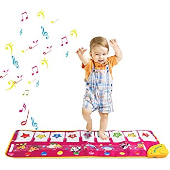 Multi-Function Piano Mat Musical Toys Play Mats Music Singing Gym Carpet Mat Touch Play Piano Keyboard Gift for Kids Baby Toddler 100 * 36 cm Music Mat