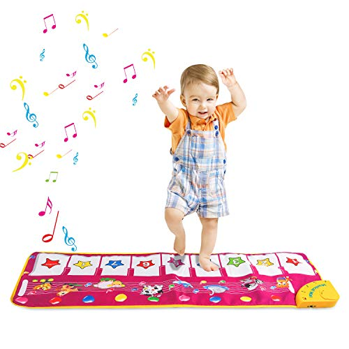 Zmoon Musical Toys, Piano Mat Musical Carpet Baby Activity Gym Play Mats , Baby Early Education Music Singing Piano Keyboard Blanket Touch Play for Kids Gift (Purple)