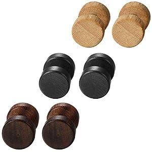 Aroncent 6er(3 Paare) Set Ohrringe Holz 8-12mm Ohrstecker Edelstahl Ohrringe Tunnel Ohrstecker Holz Piercing Ohr Vintage Ohrringe Hanteln für Damen und Herren