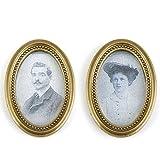 Newin Star Miniatur Fotorahmen, 2 Stück Oval Klassische Bilderrahmen Puppenstube Dekoration