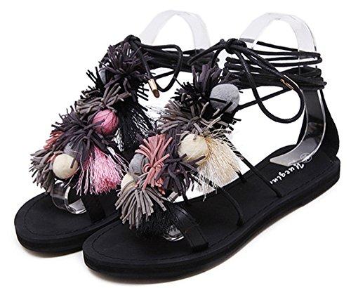 Aisun Femme Confort Frange Lacets Sandales Noir