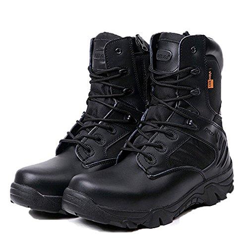 LiliChan Männer Taktische Stiefel Delta Side Reißverschluss Military Work 8 Zoll Armee Schuhe (40, Schwarz) (Reißverschluss-knie-boot)