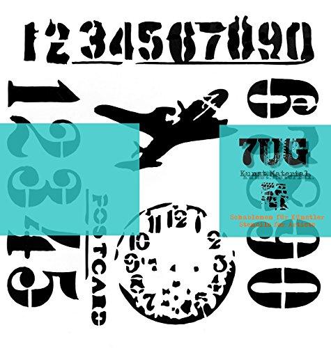 7UG Designer Schablone Artjourney (13 x 13 cm) Reise::Flugzeug::Ziffern::Zahlen für Mixed Media Projekte