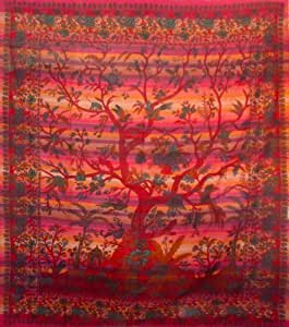 TREE OF LIFE NATURE WALL ART HANGING KING SIZE DOUBLE SOFA BED COVER THROW DE...