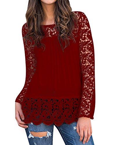 StyleDome Mujer Camiseta Otoño Encaje Mangas Larga Blusa Cuello Redondo Elegante Casual Bonita Tops Burdeos 2XL