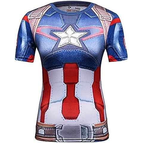 Cody Lundin® Mujeres Moda America Líder Héroe Logo cosplay Corriendo Aptitud Deporte camiseta Manga corta