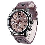 Koiiko®, orologio da uomo al quarzo, resistente all'acqua fino a30 m con display analogico e cinturino in pelle