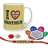 Raksha Bandhan Rakhi Gifts Hamper Designer Crystal Rakhi For Brother & Happy Raksha Bandhan Greeting Card I Love You Bro Quote Printed Cream Mug 325 Ml - Gift For Bhai Bhaiya On His Birthday Anniversary Bhaidooj