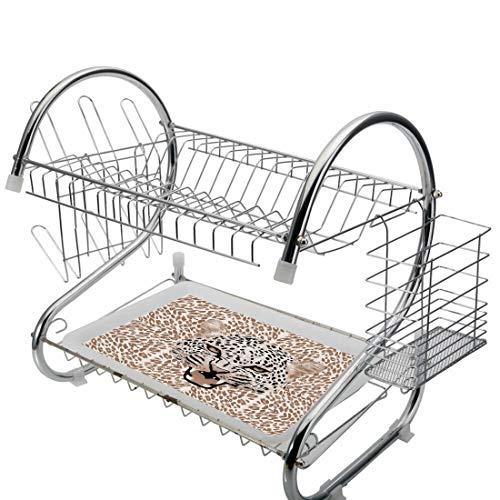 Edelstahl-Abtropfbrett, moderner 2-stufiger Küchen-Abtropfbrett-Besteckhalter, Tropfbrett-Druck-brüllendes Leoparden-Porträt mit Rosetten-wilder afrikanischer Tier-Großkatzen-Grafik, multi, Speicherpl Leopard Rosette