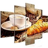 Bilder Küche Kaffee Wandbild 150 x 100 cm Vlies - Leinwand Bild XXL Format Wandbilder Wohnzimmer Wohnung Deko Kunstdrucke Braun 5 Teilig - MADE IN GERMANY - Fertig zum Aufhängen 501853c