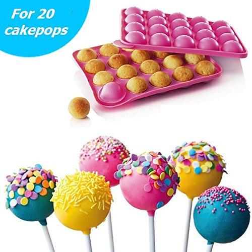Pride Kings Silikon CakePop Backform für 20 Leckere Cakepops inklusive 20 Cake Pop Stiele für den Backofen und die Mikrowelle ALS auch zum Einfrieren geeignet