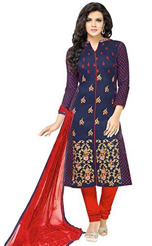 Special Mega Sale Festival Offer C&H Blue Cotton Designer Semi-Stitched Salwar Suits