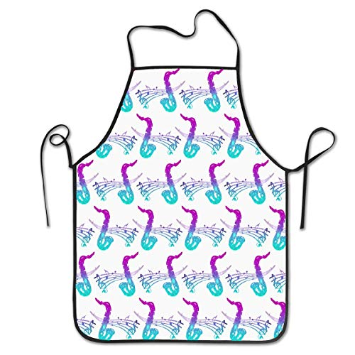 HTETRERW Soft & Durable Polyester Aprons, Edges Hemmed Unisex Fashion Funny Bib Aprons, Beautiful Jazz Saxophone Music Water Proof and Protective for Kitchen Cooking BBQ, Crafting, - Professionelle Jazz Kostüm