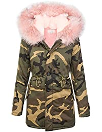 Damen Camouflage Winter Jacke Kunstpelzfutter Army-Look Kapuze  XXL-Kunstfell S-L D-339 ab9c817b6c