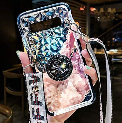 Uposao Kompatibel mit Samsung Galaxy S10 Handyhülle mit Ring Ständer Glitzer Bling Strass Diamant Transparent TPU Silikon Handyhülle Clear Durchsichtige Schutzhülle Slim Tasche Case,Schwarz