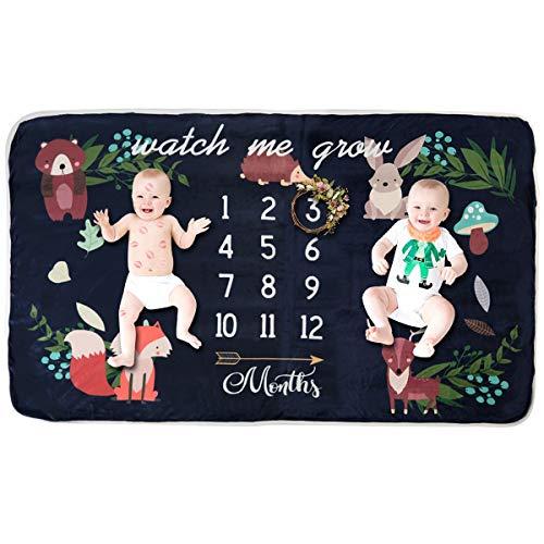 Puseky Baby monatliche Meilenstein Decke Fotografie Requisiten Kulisse Decke Dusche Geschenk für Jungen Mädchen (Color : Dark Blue(35.4inch x 63inch), Size : 0-12M) -