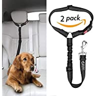 Headrest dog car seat belt 2 Pack Adjustable Durable Headrest Seat belt Pet Dog Car Safety Harness Restraint with Elastic Nylon Bungee Buffer