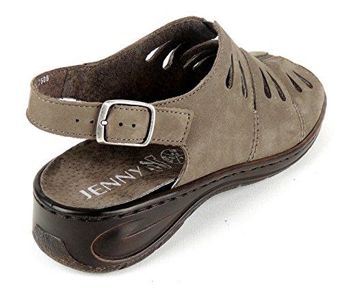 JENNY by ARA Damen Sandale Weite G EINLAGEN geeignet schlamm NUBUKLEDER 56517 taupe  (walnut)