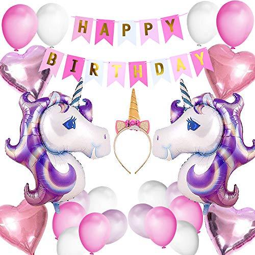 (VSTON Einhorn Party Dekoration Ballons Happy Birthday Party Supplies Wimpel Banner Seidenpapier Pom Rosa Blumen Garland für Mädchen Kinder Kind (Schöne Rosa Lila Thema))
