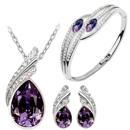 Cyan Purple Austrian Crystal Necklace Set Combo With Crystal Earrings And Elegant Crystal Bracelet  available at amazon for Rs.499