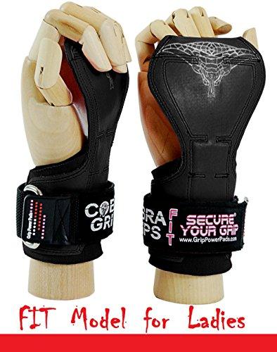 Grip Power Pads Cobra Grips® V2Gewichtheber-Handschuhe, robust, Zughilfen für Kreuzheben, FIT Black Rubber V2