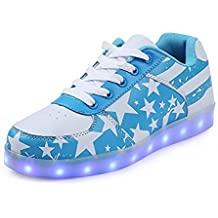 Damen Leuchtende Sohle Led Schuhe USB Charging Blitzen Mit 7 Farbe Glitzer Stern Form Turnschuhe Blinkend Bunt Sneaker Neon Sportschuhe Unisex Herren