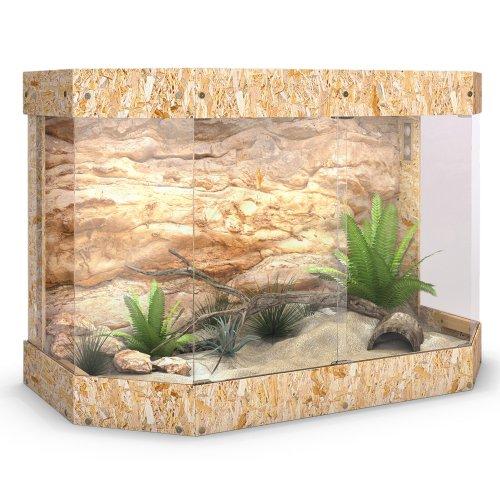 Terrarium Holzterrarium Holz Panorama Reptil Schildkröte Glas Schiebetür 120x80x60cm