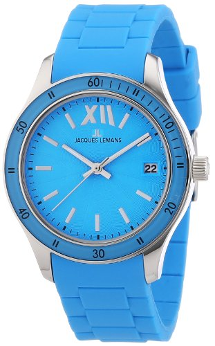 Jacques Lemans Ladies Rome Sports Wrist Watch 1-1623L with Turquoise Silicone Strap