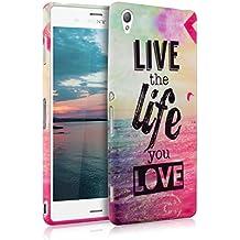 kwmobile FUNDA de TPU silicona para Sony Xperia Z3 Diseño Live the Life multicolor rosa fucsia azul - Estilosa funda de diseño de TPU blando de alta calidad