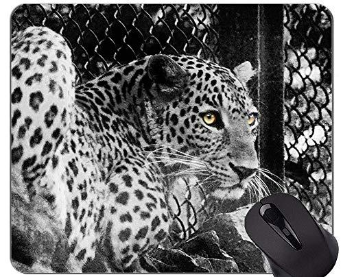 Rutschfeste Gummi-Gaming-Mausunterlage, Jungle Cat Leopard-Mausunterlage mit angenähter Kante